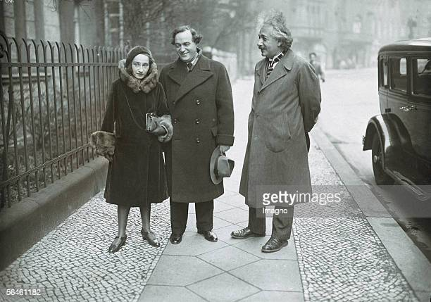Wedding of Albert Einstein's daughter Margot and Dimitri Marianoff's They are on their way to civil registry office Germany Photography Around 1930...