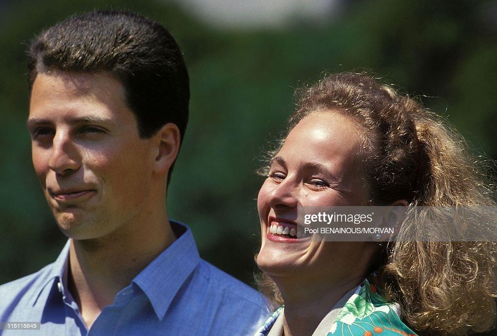 Wedding of Alois Von Liechtenstein with Sophie in Bayern in Vaduz, Liechtenstein on June 26, 1993 - in front of the Castle.