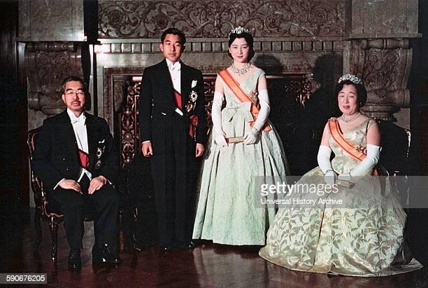 Wedding of Crown Prince Akihito and Princess Michiko 1960 Emperor Hirohito and Empress Nagako are shown with Crown prince Akihito of Japan