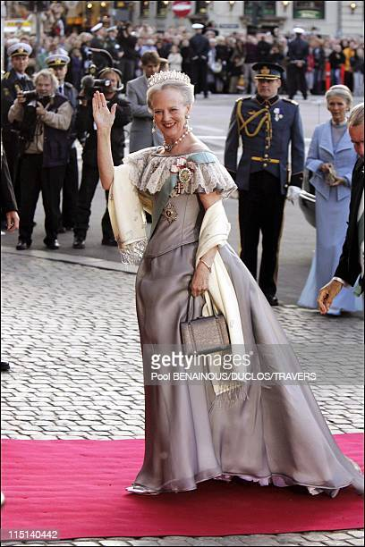 Wedding of Crown Prince Frederik and Miss Mary Elisabeth Donaldson: Arrivals for the gala performance in the Royal theatre in Copenhagen, Denmark on...