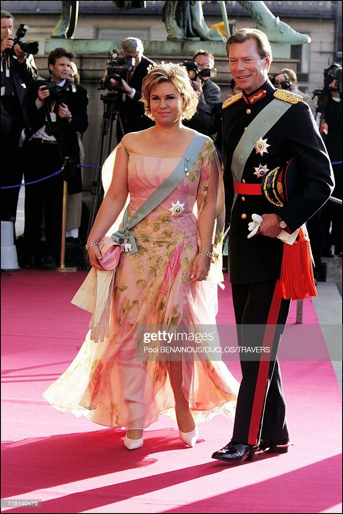 Wedding of Crown Prince Frederik and Miss Mary Elisabeth Donaldson: Arrivals for the gala performance in the Royal theatre in Copenhagen, Denmark on May 13, 2004 - Henri of Luxembourg and wife Maria Teresa of Luxembourg.