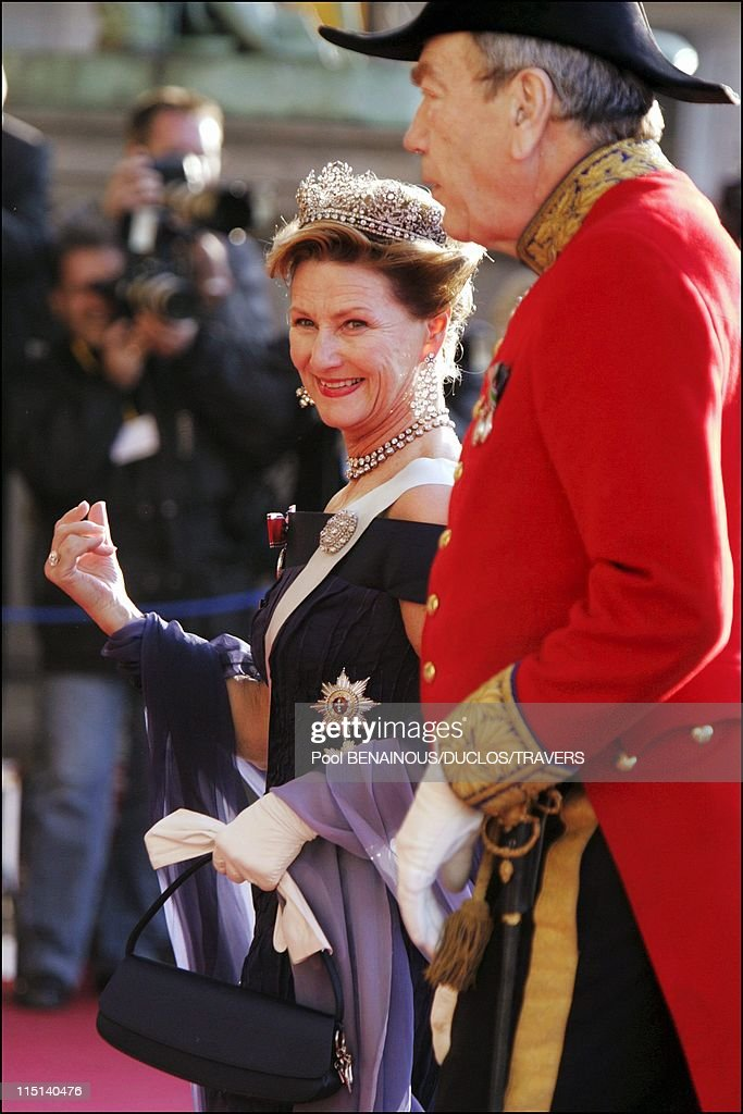 Wedding of Crown Prince Frederik and Miss Mary Elisabeth Donaldson: Arrivals for the gala performance in the Royal theatre in Copenhagen, Denmark on May 13, 2004 - Queen Sonja of Norway.