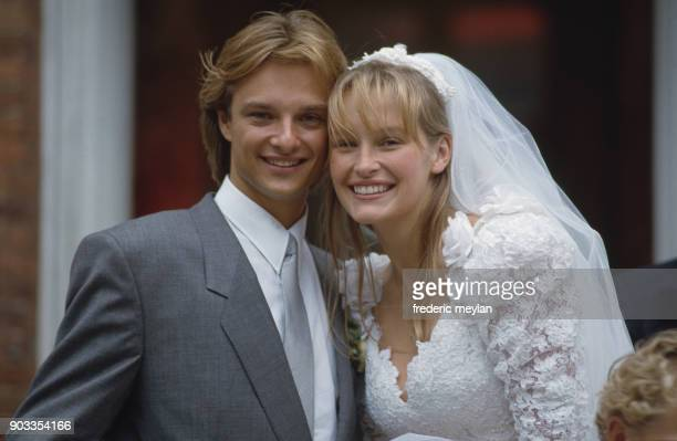 Wedding of David Hallyday and Estelle Lefebure in St.-Martin de Boscherville at St. Georges Church, 15th September 1989
