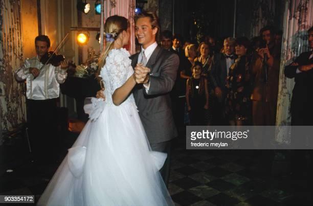 Wedding of David Hallyday and Estelle Lefebure in StMartin de Boscherville at St Georges Church 15th September 1989
