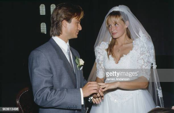 Wedding of David Hallyday and Estelle Lefebure in St.-Martin de Boscherville at St. Georges Church 15th September 1989