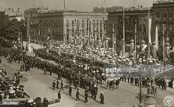 Wedding of Duchess Cecilie of MecklenburgSchwerin and Crown Prince Wilhelm Berlin Germany June 1905 Horse drawn carriage travels through Berlin...
