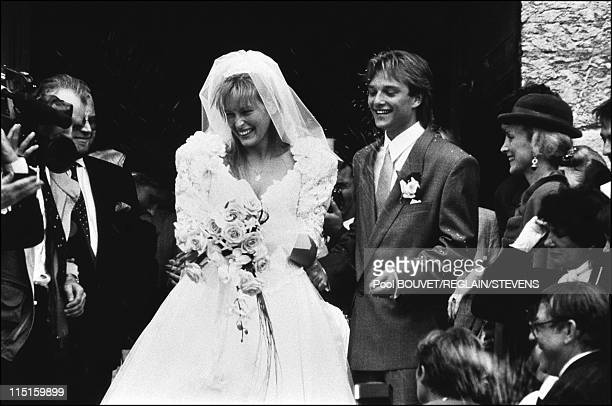 Wedding of Estelle Lefebure and David Hallyday in France on September 15 1989 On the right Denise Lefebure
