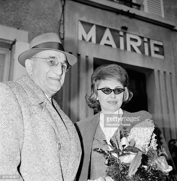 Wedding Of French Actor Charles Vanel With Arlette Bailly At the City Hall Of SaintMartinlaGarenne France on January 20 1962
