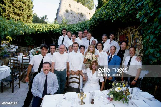 Wedding of French American actress and singer Arielle Dombasle with philosopher Bernard-Henri Lévy, in Saint-Paul-de-Vence.