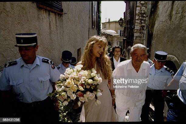 Wedding of French American American actress and singer Arielle Dombasle with philosopher Bernard-Henri Lévy, in Saint-Paul-de-Vence.