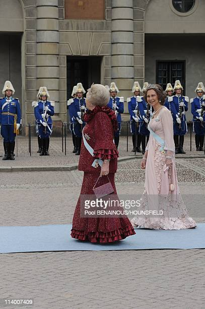 Wedding of H.R.H. Crown Princess Victoria of Sweden and Daniel Westling In Stockholm, Sweden On June 19, 2010-Queen Beatrix and Queen Sofia of Spain.
