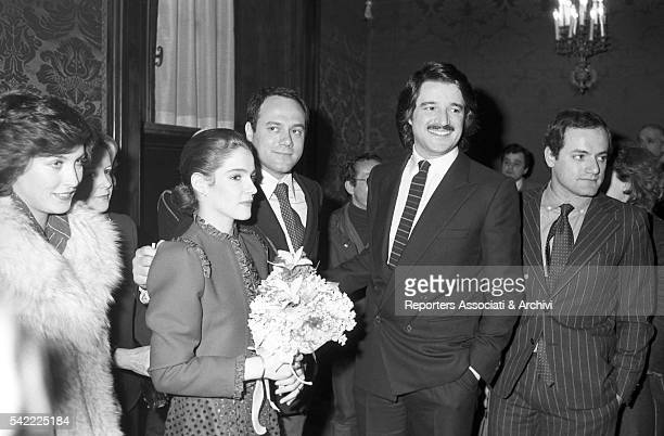 Wedding of Italian actor Christian De Sica and Silvia Verdone. Among the guests are Luca Verdone and Italian actor and director Carlo Verdone, with...