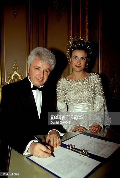 Wedding of Jill and Marc Cerrone at the Paris city hall of the 8th arrondissement France on December 10 1993