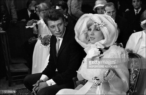 Wedding of Johny Hallyday and Sylvie Vartan in France on April 12 1965 Johnny and Sylvie during the religious ceremony