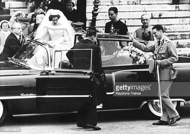 Wedding of King Baudouin I of Belgium with Fabiola de Mora y Aragon in Brussels Belgium on December 15 1960
