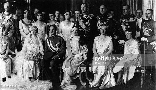Wedding of Leopold of Belgium and Astrid of Sweden First row left to right Grand Duchess of Luxembourg Queen Alexandrina of Denmark Queen Elisabeth...