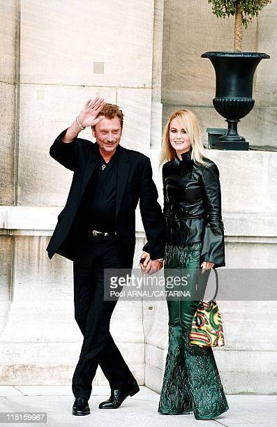 Wedding of Michel Sardou and AnneMarie Perier in Neuilly Sur Seine France in October 1999 Johnny Hallyday and wife Laetitia
