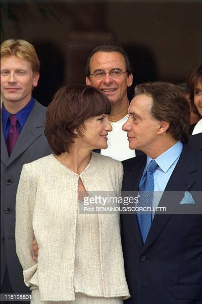 Wedding of Michel Sardou with AnneMarie Perier in Paris France on October 11 1999