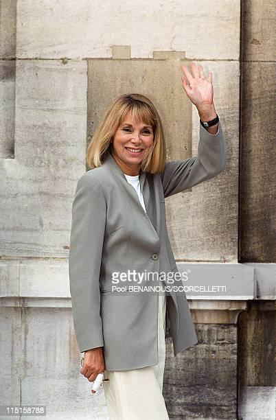 Wedding of Michel Sardou with AnneMarie Perier in Paris France on October 11 1999 Mireille Darc