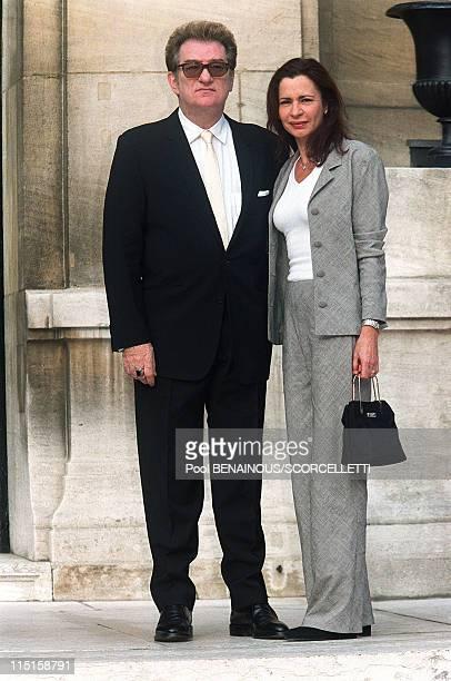 Wedding of Michel Sardou with AnneMarie Perier in Paris France on October 11 1999 Eddy Mitchell