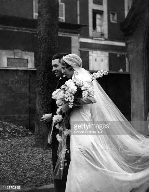 Wedding of Pierrette Chaumaison and Robert Doisneau 1934 in ChoisyLeRoi France