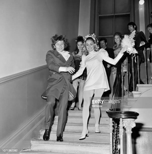 Wedding of Polish film director Roman Polanski and his bride, American actress Sharon Tate, at Chelsea Register Office, London, 20th January 1968.