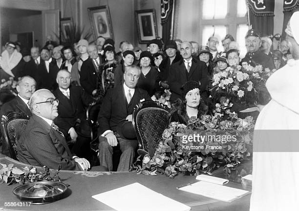 Wedding of Prince Aga Khan with Miss Andree Carron on December 7 1929 in AixLesBains France