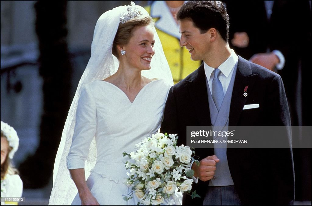 Wedding of Prince Alois of Liechtenstein and sophie in Bayern in Vaduz, Liechtenstein on July 03, 1993.