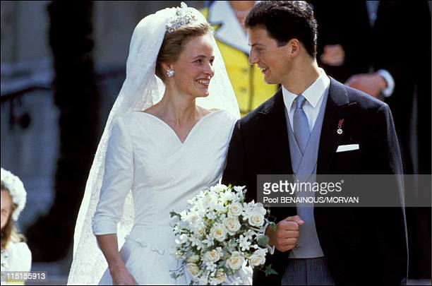 Wedding of Prince Alois of Liechtenstein and sophie in Bayern in Vaduz Liechtenstein on July 03 1993