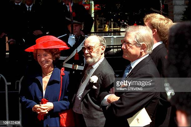 Wedding Of Prince Constantin And Laurentien Brinkhorst On May 19Th, 2001 In The Hague, Netherlands. Prince Bernard Of Holland Between Daughter...