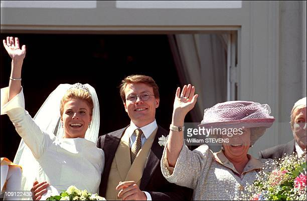 Wedding Of Prince Constantin And Laurentien Brinkhorst On May 19Th, 2001 In The Hague, Netherlands. Bride And Groom With The Queen Beatrix At The...