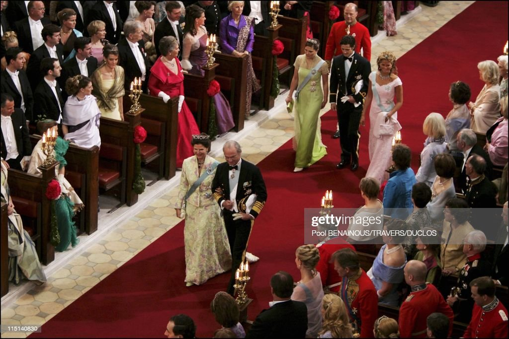 Wedding of Prince Frederik and Mary Donaldson: Ceremony inside the cathedral in Copenhagen, Denmark on May 14, 2004 - Queen Silvia and King Carl XVI Gustaf of Sweden, Princess Madeleine, prince Carl Philip and Princess Victoria entering the cathedral.
