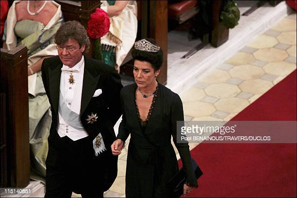 Wedding of Prince Frederik and Mary Donaldson Ceremony inside the cathedral in Copenhagen Denmark on May 14 2004 Caroline of Hanover and Ernst August...