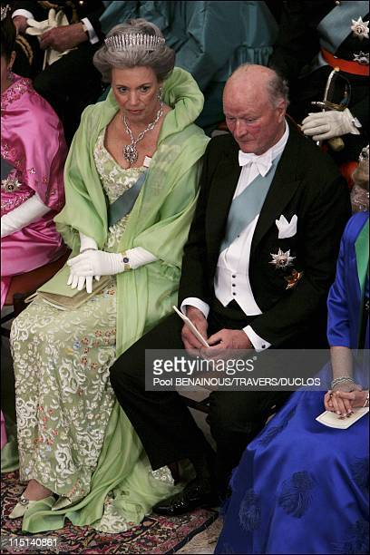 Wedding of Prince Frederik and Mary Donaldson Ceremony inside the cathedral in Copenhagen Denmark on May 14 2004 Inside the cathedral Princess...