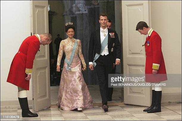 Wedding of Prince Frederik and Mary Elisabeth Donaldson dinner in Christianborg palace in Copenhagen Denmark on May 11 2004 Joachim and Alexandra of...