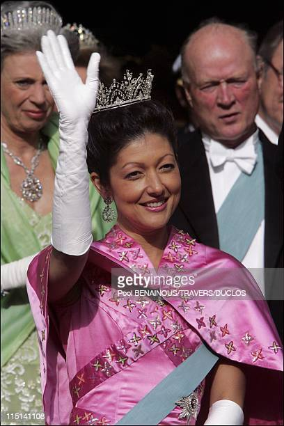 Wedding of Prince Frederik of Denmark and Mary Donaldson After the ceremony in Copenhagen Denmark on May 14 2004 Princess Alexandra of Denmark