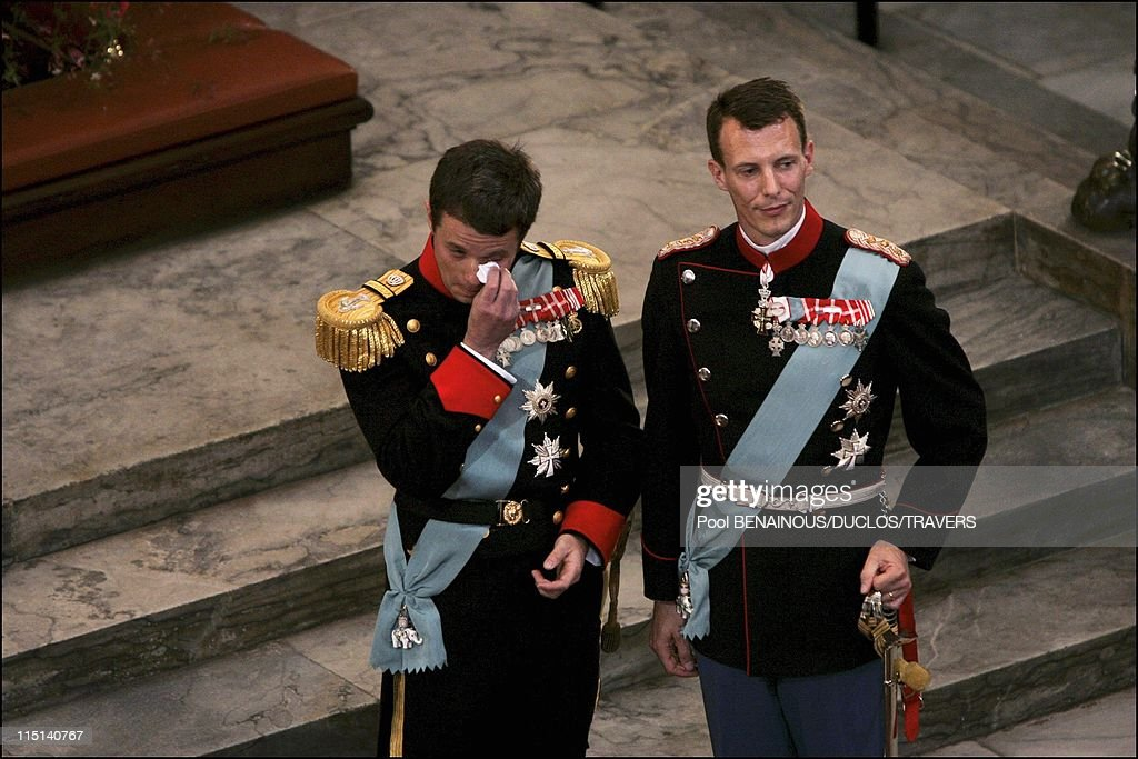 Wedding of Prince Frederik of Denmark and Mary Donaldson: arrivals at the cathedral in Copenhagen, Denmark on May 14, 2004 - Prince Frederik and brother Joachim.