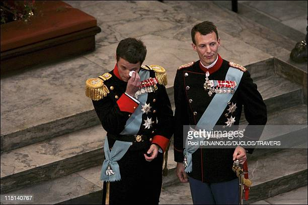 Wedding of Prince Frederik of Denmark and Mary Donaldson arrivals at the cathedral in Copenhagen Denmark on May 14 2004 Prince Frederik and brother...