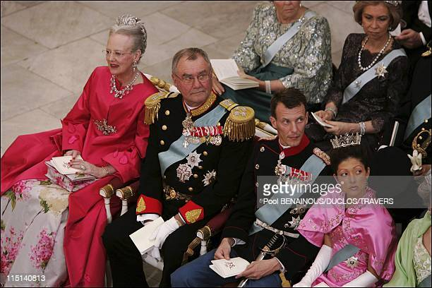 Wedding of Prince Frederik of Denmark and Mary Donaldson arrivals at the cathedral in Copenhagen Denmark on May 14 2004 Queen Margrethe Prince Henrik...