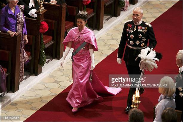 Wedding of Prince Frederik of Denmark and Mary Donaldson arrivals at the cathedral in Copenhagen Denmark on May 14 2004 Princess Alexandra