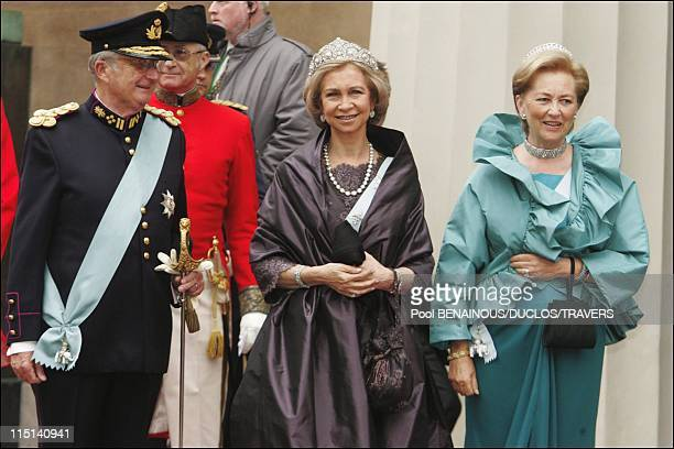 Wedding of Prince Frederik of Denmark and Mary Donaldson arrivals at the cathedral in Copenhagen Denmark on May 14 2004 King Albert Queen Sofia and...
