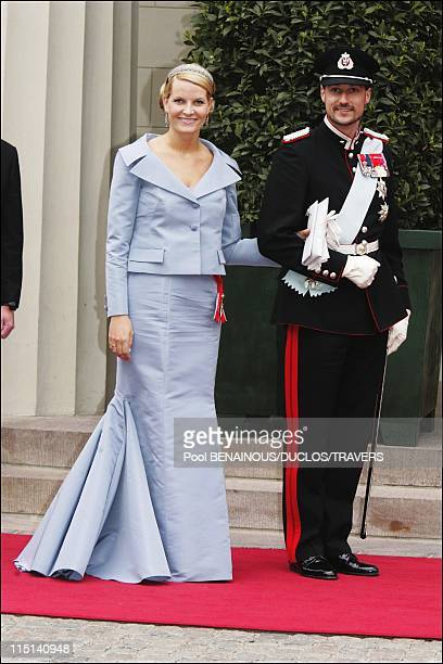 Wedding of Prince Frederik of Denmark and Mary Donaldson arrivals at the cathedral in Copenhagen Denmark on May 14 2004 Prince Haakon and Princess...