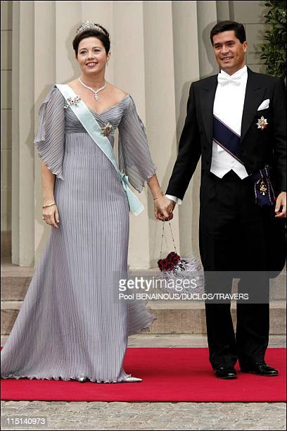 Wedding of Prince Frederik of Denmark and Mary Donaldson arrivals at the cathedral in Copenhagen Denmark on May 14 2004 Princess Alexia of Greece and...