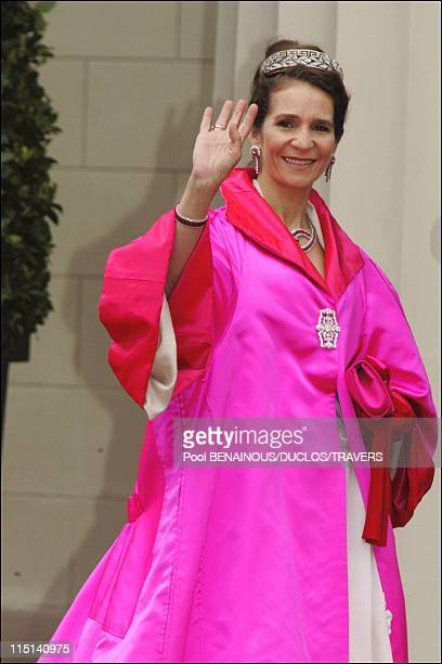 Wedding of Prince Frederik of Denmark and Mary Donaldson arrivals at the cathedral in Copenhagen Denmark on May 14 2004 Infanta Elena