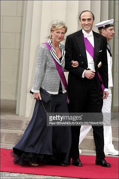 Wedding of Prince Frederik of Denmark and Mary Donaldson arrivals at the cathedral in Copenhagen Denmark on May 14 2004 Princess Astrid of Belgium...