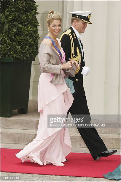 Wedding of Prince Frederik of Denmark and Mary Donaldson arrivals at the cathedral in Copenhagen Denmark on May 14 2004 Prince Willem Alexander of...