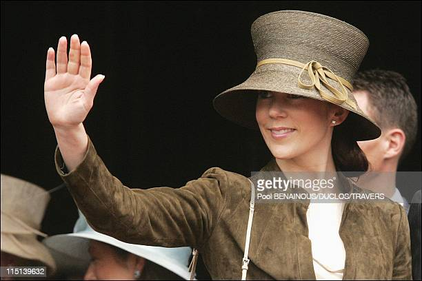 Wedding of Prince Frederik of Denmark and Mary Elisabeth Donaldson in Copenhagen Denmark on May 12 2004 Exit after the reception at Copenhagen city...