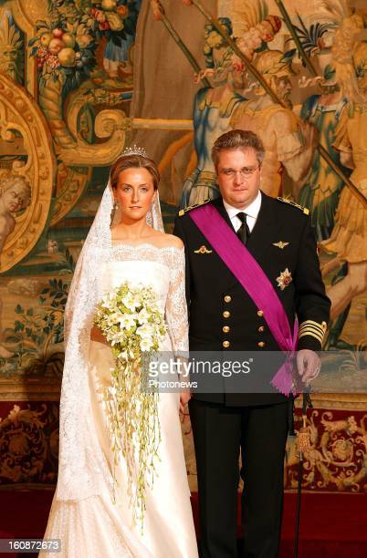 Wedding of Prince Laurent of Belgium and Claire Coombs on April 12, 2003 in Brussels, Belgium..