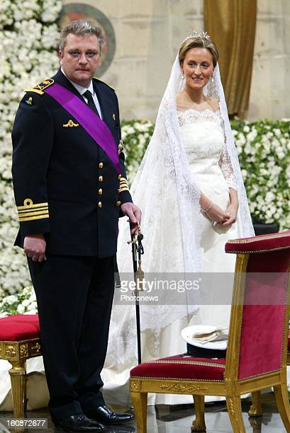 Wedding of Prince Laurent of Belgium and Claire Coombs on April 12 2003 in Brussels Belgium