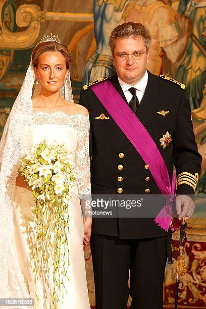 Wedding of Prince Laurent of Belgium and Claire Coombs on April 12 2003 in BrusselsBelgium
